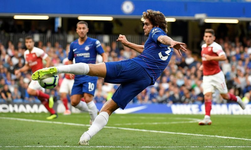 Image result for marcos alonso chelsea shooting