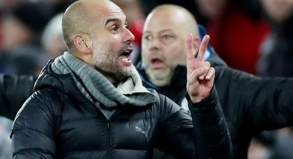 Pep Guardiola and Man City staff surround Sky Sports pundit Geoff Shreeves in furious half time outburst