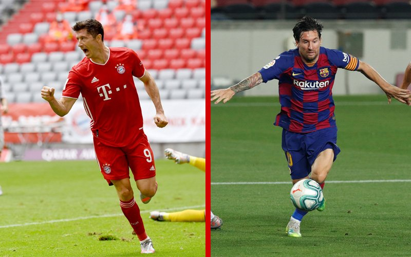 Champions League Head To Head Lionel Messi Barcelona Vs Robert Lewandowski Bayern Munich Shoot